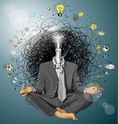 Businessman in lotus pose meditating vector