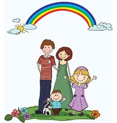 cartoon family background vector image