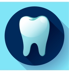 Flat tooth Icon with long shadow Dentist vector image vector image