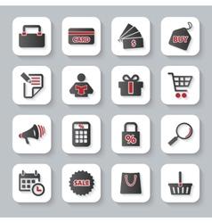 Set of flat modern shopping web icons vector image