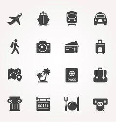 Traveling and transport icon set vector image
