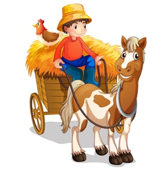 A farmer riding a cart with a chicken at his back vector image