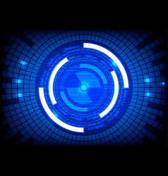 blue tech circle and technology background vector image vector image