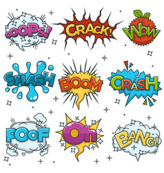comic boom bang wow speech bubble cloud explode vector image