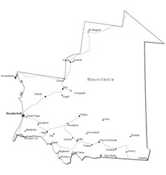 Mauritania Black White Map vector image vector image