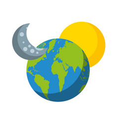 world planet earth with moon and stars vector image vector image
