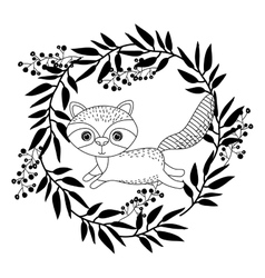 animal drawing within wreath icon vector image vector image