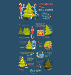 christmas tree safety cheklist instruction vector image