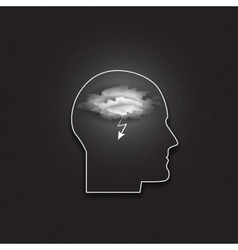 icon of human head Idea in your mind Dark vector image