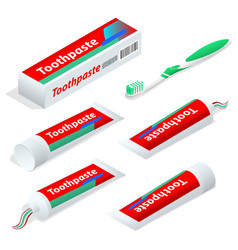 isometric paste or gel dentifrice used with a vector image