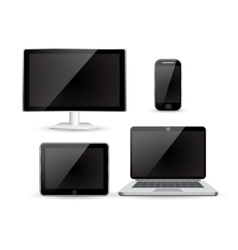 set realistic Monitors laptop tablet and phone vector image