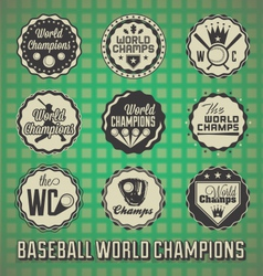 Baseball World Champions Labels and Icons vector image vector image