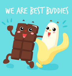 chocolate and banana are best buddies vector image vector image
