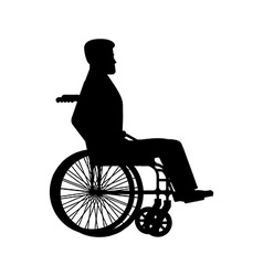 Disabled wheelchair silhouette Man sits in vector image vector image