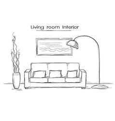 Sketchy of living room interior hand drawing vector image