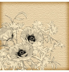Vintage Hand Drawing Flowers vector image