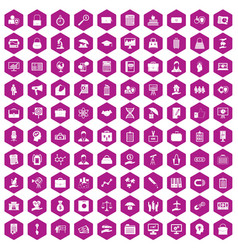100 portfolio icons hexagon violet vector