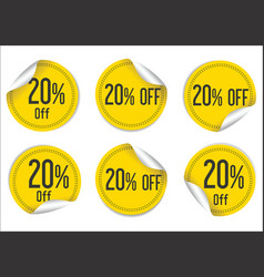 20 percent off yellow paper sale stickers vector image