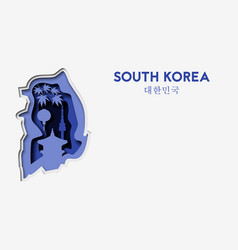 3d abstract paper cut illlustration of south korea vector