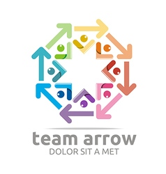 Abstract Logo Team Arrow Circle Colorful Symbol vector