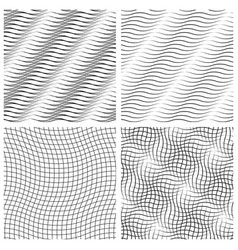 Abstract set of wavy seamless pattern vector