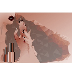 Abstract woman and nail polish vector