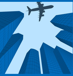 advertising of travel city landscape plane over vector image