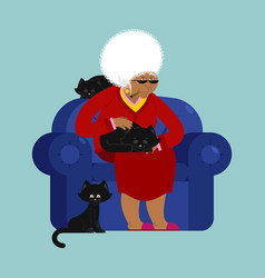 African american grandmother and cat sitting vector