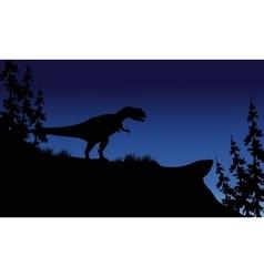At night silhouette of Allosaurus vector