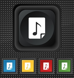 Audio MP3 file icon sign symbol Squared colourful vector