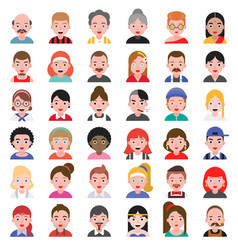 avatar people icon set 2 flat design vector image