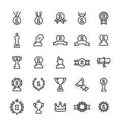 awards and trophy icon set in line style vector image