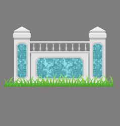 balcony or terrace fence decorated with marble vector image