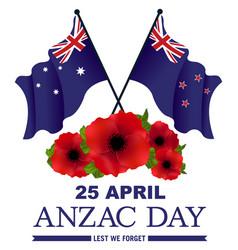 Banner red poppies nz australian flags vector