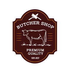 Beef shop label design in vintage style vector