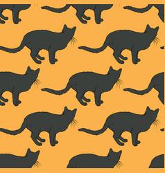 black cat seamless pattern vector image