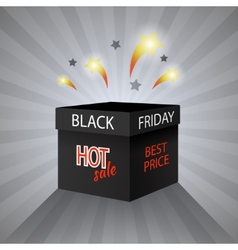 Black friday sale box on grey background vector image