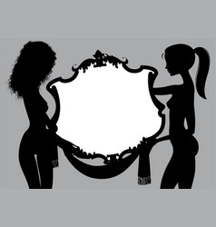 black silhouette two naked girls with a vintage vector image