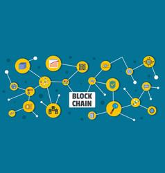 Block chain banner flat style vector
