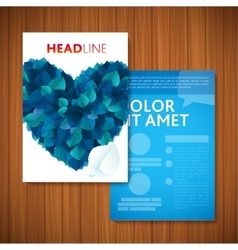 BLUE LOVE HEART Nature rainbow leaves concept card vector image