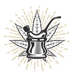 Bong with cannabis leaf on white background vector