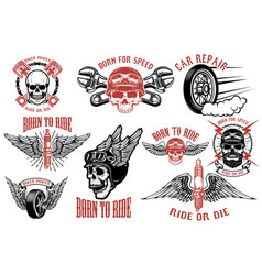 born to ride set emblems with racer skulls vector image