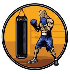 Boxing athlete training in the gym vector