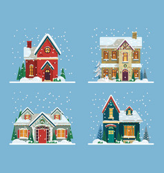 Buildings or houses decorated for new year xmas vector