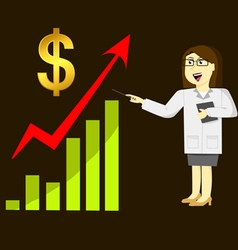 Business woman and green graph growing up vector image