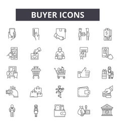 Buyer line icons for web and mobile design vector