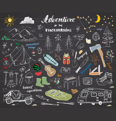camping hiking hand drawn sketch doodle set with vector image
