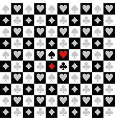 Card Suit Chess Board Black White Background vector image