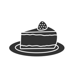 cheesecake with strawberry glyph icon vector image
