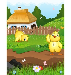 Chickens near the house vector